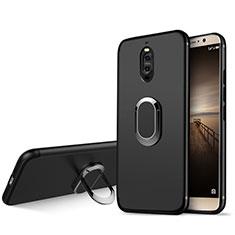 Coque Ultra Fine Silicone Souple avec Support Bague Anneau pour Huawei Mate 9 Pro Noir
