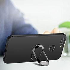 Coque Ultra Fine Silicone Souple avec Support Bague Anneau pour Huawei Nova 2 Noir