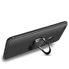 Coque Ultra Fine Silicone Souple avec Support Bague Anneau pour Huawei P8 Lite (2017) Noir
