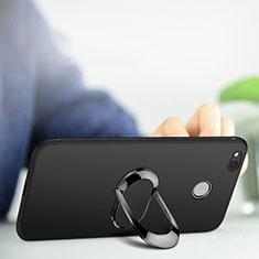 Coque Ultra Fine Silicone Souple avec Support Bague Anneau pour Xiaomi Redmi 4A Noir