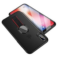 Coque Ultra Fine Silicone Souple avec Support Bague Anneau T01 pour Apple iPhone Xs Noir