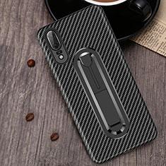 Coque Ultra Fine Silicone Souple Housse Etui avec Support Bague Anneau A01 pour Huawei P20 Noir