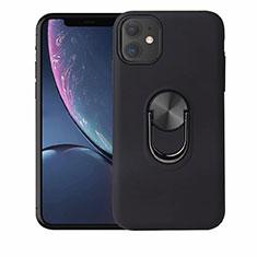 Coque Ultra Fine Silicone Souple Housse Etui avec Support Bague Anneau Aimante Magnetique A01 pour Apple iPhone 11 Noir