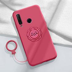Coque Ultra Fine Silicone Souple Housse Etui avec Support Bague Anneau Aimante Magnetique A01 pour Huawei Enjoy 10 Plus Rouge