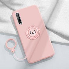 Coque Ultra Fine Silicone Souple Housse Etui avec Support Bague Anneau Aimante Magnetique A01 pour Huawei Enjoy 10S Rose