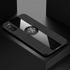 Coque Ultra Fine Silicone Souple Housse Etui avec Support Bague Anneau Aimante Magnetique A01 pour Huawei Enjoy 20 Pro 5G Noir