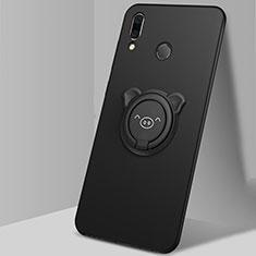 Coque Ultra Fine Silicone Souple Housse Etui avec Support Bague Anneau Aimante Magnetique A01 pour Huawei Honor 10 Lite Noir