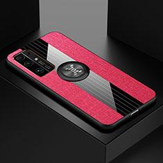 Coque Ultra Fine Silicone Souple Housse Etui avec Support Bague Anneau Aimante Magnetique A01 pour Huawei Honor 30 Rose Rouge