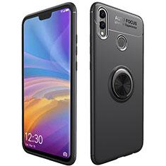 Coque Ultra Fine Silicone Souple Housse Etui avec Support Bague Anneau Aimante Magnetique A01 pour Huawei Honor V10 Lite Noir