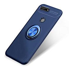 Coque Ultra Fine Silicone Souple Housse Etui avec Support Bague Anneau Aimante Magnetique A01 pour Huawei Honor V20 Bleu