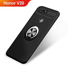 Coque Ultra Fine Silicone Souple Housse Etui avec Support Bague Anneau Aimante Magnetique A01 pour Huawei Honor V20 Noir