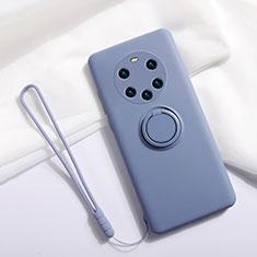 Coque Ultra Fine Silicone Souple Housse Etui avec Support Bague Anneau Aimante Magnetique A01 pour Huawei Mate 40 Pro+ Plus Gris Lavende