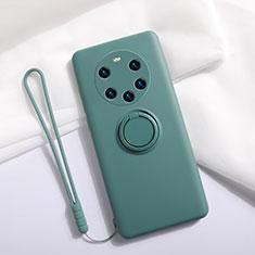 Coque Ultra Fine Silicone Souple Housse Etui avec Support Bague Anneau Aimante Magnetique A01 pour Huawei Mate 40 Pro+ Plus Vert