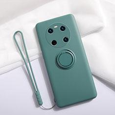Coque Ultra Fine Silicone Souple Housse Etui avec Support Bague Anneau Aimante Magnetique A01 pour Huawei Mate 40 Vert