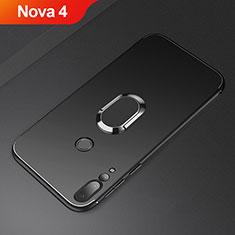 Coque Ultra Fine Silicone Souple Housse Etui avec Support Bague Anneau Aimante Magnetique A01 pour Huawei Nova 4 Noir