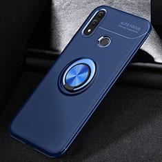 Coque Ultra Fine Silicone Souple Housse Etui avec Support Bague Anneau Aimante Magnetique A01 pour Huawei P Smart (2019) Bleu