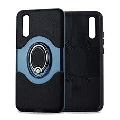 Coque Ultra Fine Silicone Souple Housse Etui avec Support Bague Anneau Aimante Magnetique A01 pour Huawei P20 Cyan
