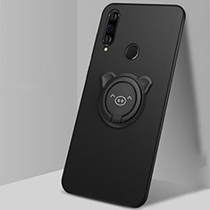 Coque Ultra Fine Silicone Souple Housse Etui avec Support Bague Anneau Aimante Magnetique A01 pour Huawei P30 Lite Noir