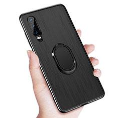 Coque Ultra Fine Silicone Souple Housse Etui avec Support Bague Anneau Aimante Magnetique A01 pour Huawei P30 Noir