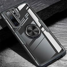 Coque Ultra Fine Silicone Souple Housse Etui avec Support Bague Anneau Aimante Magnetique A01 pour Huawei P30 Pro Noir