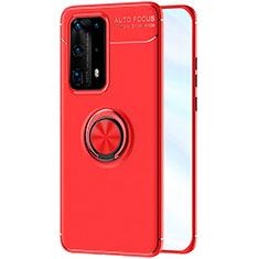 Coque Ultra Fine Silicone Souple Housse Etui avec Support Bague Anneau Aimante Magnetique A01 pour Huawei P40 Pro+ Plus Rouge