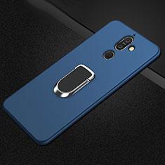 Coque Ultra Fine Silicone Souple Housse Etui avec Support Bague Anneau Aimante Magnetique A01 pour Nokia 7 Plus Bleu