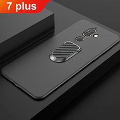 Coque Ultra Fine Silicone Souple Housse Etui avec Support Bague Anneau Aimante Magnetique A01 pour Nokia 7 Plus Noir