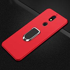 Coque Ultra Fine Silicone Souple Housse Etui avec Support Bague Anneau Aimante Magnetique A01 pour Nokia 7 Plus Rouge