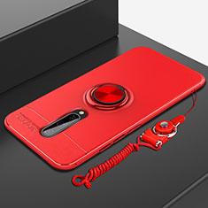 Coque Ultra Fine Silicone Souple Housse Etui avec Support Bague Anneau Aimante Magnetique A01 pour OnePlus 8 Rouge