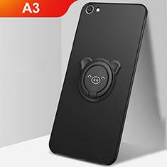 Coque Ultra Fine Silicone Souple Housse Etui avec Support Bague Anneau Aimante Magnetique A01 pour Oppo A3 Noir