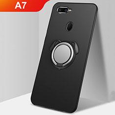 Coque Ultra Fine Silicone Souple Housse Etui avec Support Bague Anneau Aimante Magnetique A01 pour Oppo A7 Noir