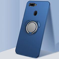 Coque Ultra Fine Silicone Souple Housse Etui avec Support Bague Anneau Aimante Magnetique A01 pour Oppo AX7 Bleu