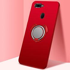 Coque Ultra Fine Silicone Souple Housse Etui avec Support Bague Anneau Aimante Magnetique A01 pour Oppo AX7 Rouge