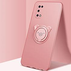 Coque Ultra Fine Silicone Souple Housse Etui avec Support Bague Anneau Aimante Magnetique A01 pour Oppo K7x 5G Or Rose
