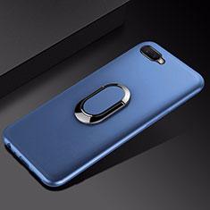 Coque Ultra Fine Silicone Souple Housse Etui avec Support Bague Anneau Aimante Magnetique A01 pour Oppo R15X Bleu
