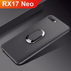 Coque Ultra Fine Silicone Souple Housse Etui avec Support Bague Anneau Aimante Magnetique A01 pour Oppo RX17 Neo Noir
