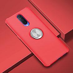 Coque Ultra Fine Silicone Souple Housse Etui avec Support Bague Anneau Aimante Magnetique A01 pour Oppo RX17 Pro Rouge