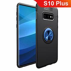 Coque Ultra Fine Silicone Souple Housse Etui avec Support Bague Anneau Aimante Magnetique A01 pour Samsung Galaxy S10 Plus Bleu et Noir