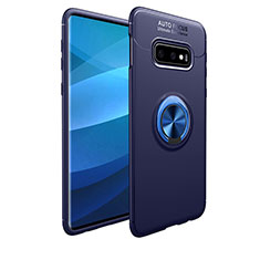 Coque Ultra Fine Silicone Souple Housse Etui avec Support Bague Anneau Aimante Magnetique A01 pour Samsung Galaxy S10e Bleu