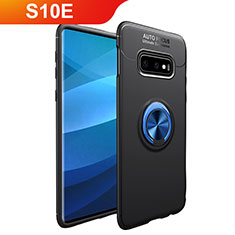 Coque Ultra Fine Silicone Souple Housse Etui avec Support Bague Anneau Aimante Magnetique A01 pour Samsung Galaxy S10e Bleu et Noir