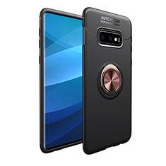 Coque Ultra Fine Silicone Souple Housse Etui avec Support Bague Anneau Aimante Magnetique A01 pour Samsung Galaxy S10e Or et Noir
