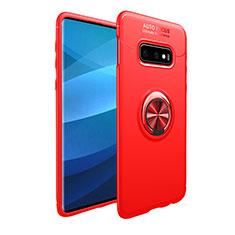 Coque Ultra Fine Silicone Souple Housse Etui avec Support Bague Anneau Aimante Magnetique A01 pour Samsung Galaxy S10e Rouge