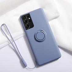 Coque Ultra Fine Silicone Souple Housse Etui avec Support Bague Anneau Aimante Magnetique A01 pour Samsung Galaxy S21 Ultra 5G Gris Lavende
