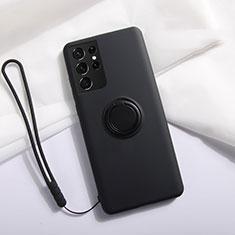 Coque Ultra Fine Silicone Souple Housse Etui avec Support Bague Anneau Aimante Magnetique A01 pour Samsung Galaxy S21 Ultra 5G Noir