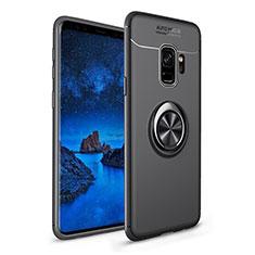 Coque Ultra Fine Silicone Souple Housse Etui avec Support Bague Anneau Aimante Magnetique A01 pour Samsung Galaxy S9 Noir