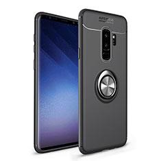 Coque Ultra Fine Silicone Souple Housse Etui avec Support Bague Anneau Aimante Magnetique A01 pour Samsung Galaxy S9 Plus Noir