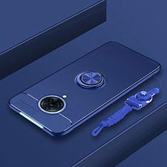 Coque Ultra Fine Silicone Souple Housse Etui avec Support Bague Anneau Aimante Magnetique A01 pour Vivo Nex 3 5G Bleu
