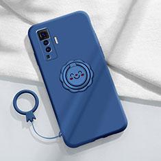 Coque Ultra Fine Silicone Souple Housse Etui avec Support Bague Anneau Aimante Magnetique A01 pour Vivo X50 5G Bleu