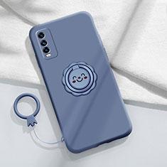 Coque Ultra Fine Silicone Souple Housse Etui avec Support Bague Anneau Aimante Magnetique A01 pour Vivo Y12s Gris Lavende