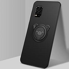 Coque Ultra Fine Silicone Souple Housse Etui avec Support Bague Anneau Aimante Magnetique A01 pour Xiaomi Mi 10 Lite Noir